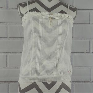 Hollister L white cotton boho peasant bow tie tank